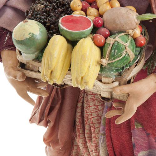 Donna con cesto di frutta 30 cm presepe Napoli 5