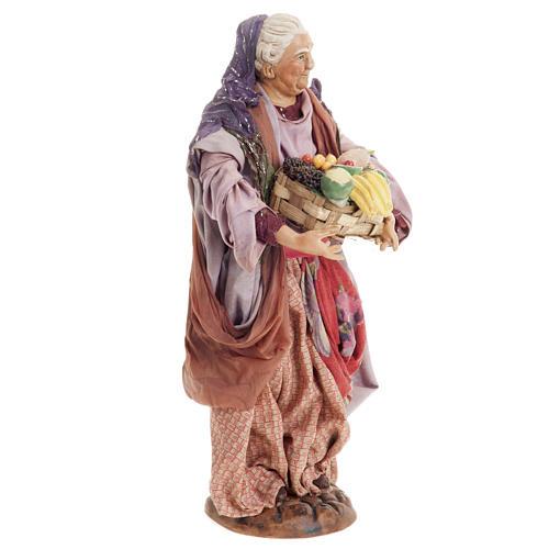 Donna con cesto di frutta 30 cm presepe Napoli 7