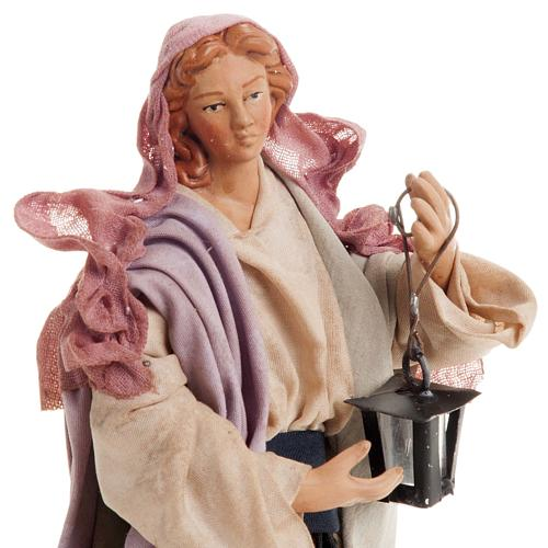 Neapolitan nativity figurine, woman with lantern 18cm 3