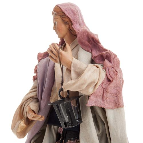 Neapolitan nativity figurine, woman with lantern 18cm 7