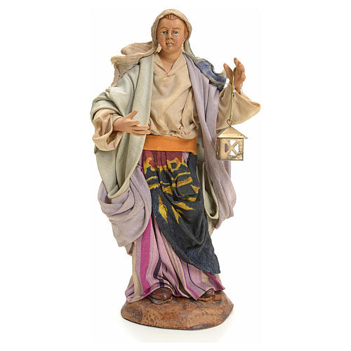 Neapolitan nativity figurine, woman with lantern 18cm 2