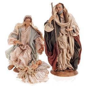 Neapolitan nativity set, Holy family 18cm s1
