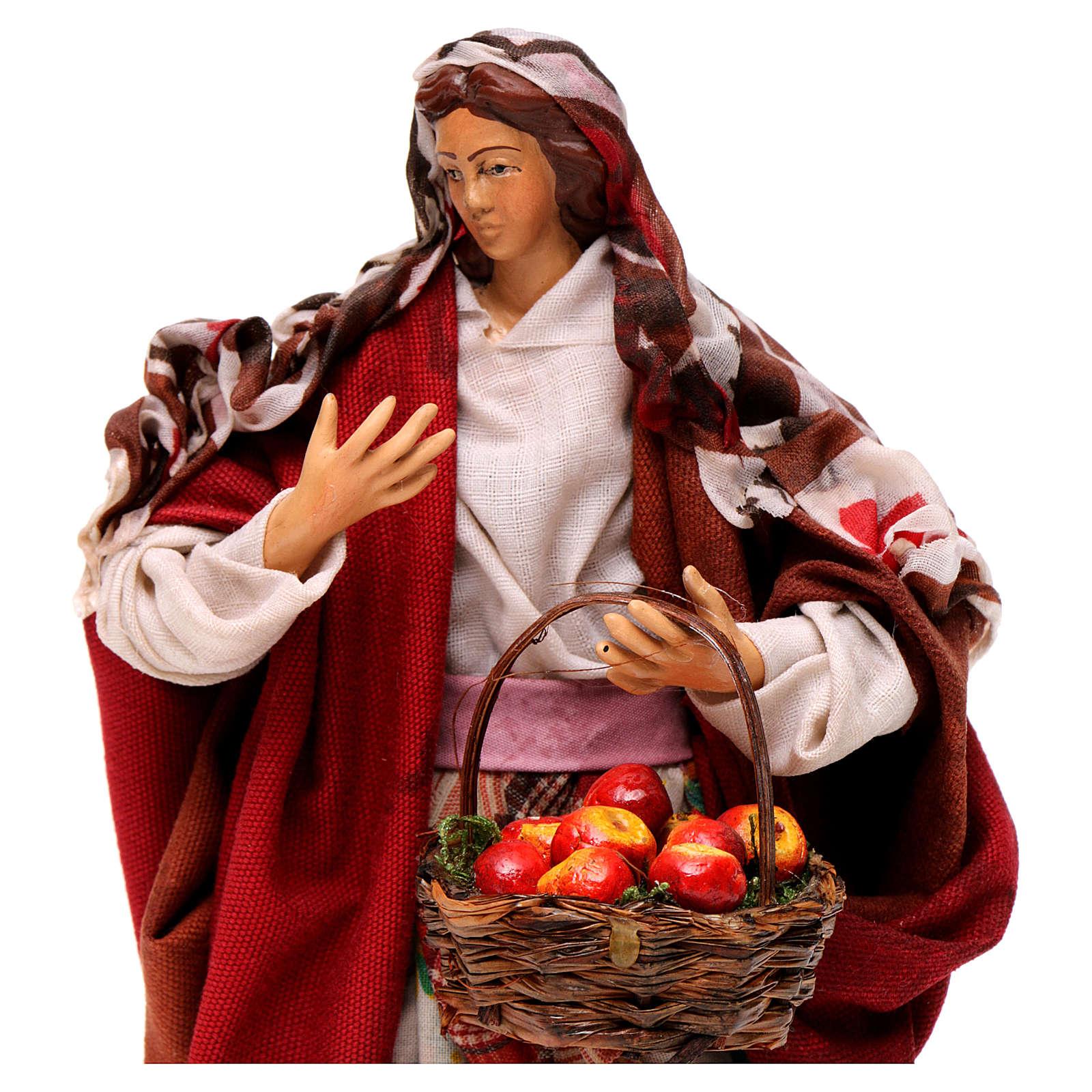 Donna con frutta 18 cm presepe napoletano 4
