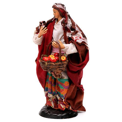 Donna con frutta 18 cm presepe napoletano 3