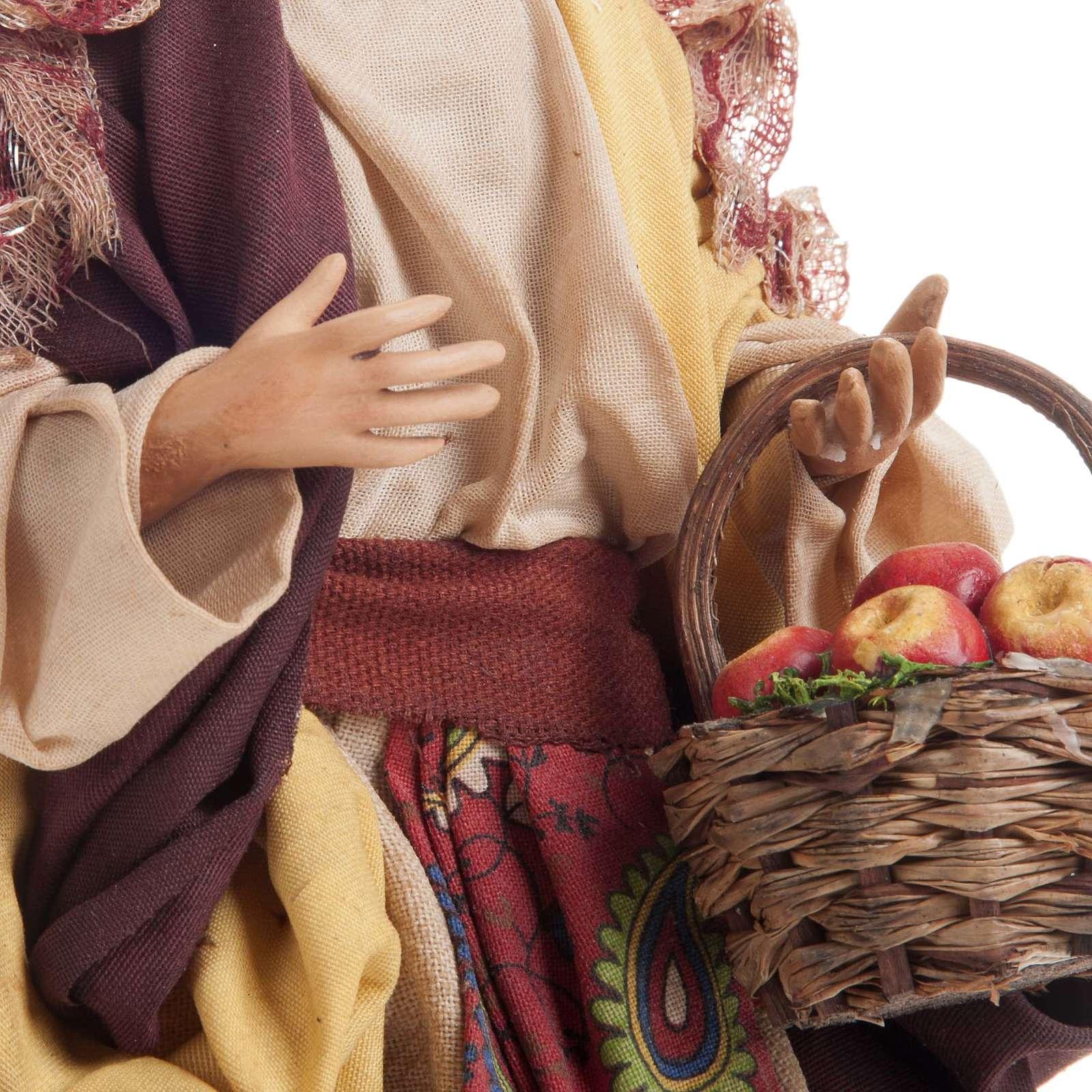 Neapolitan nativity figurine, Woman with fruit basket 18cm 4
