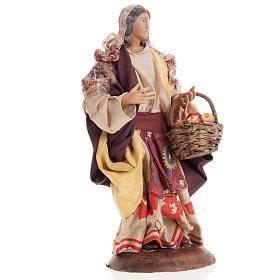 Neapolitan nativity figurine, Woman with fruit basket 18cm s7