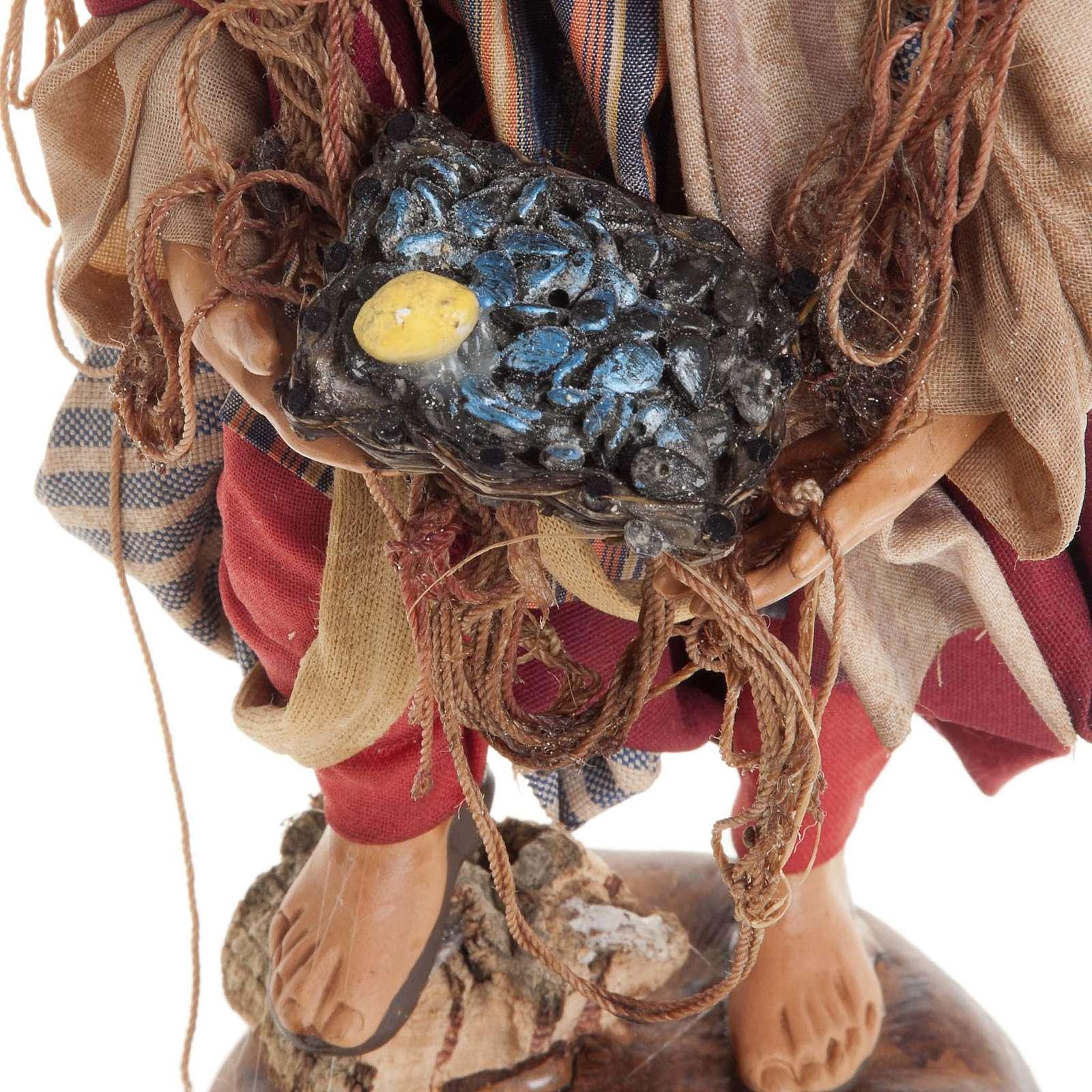 Neapolitan nativity figurine, Fisherman 18cm 4