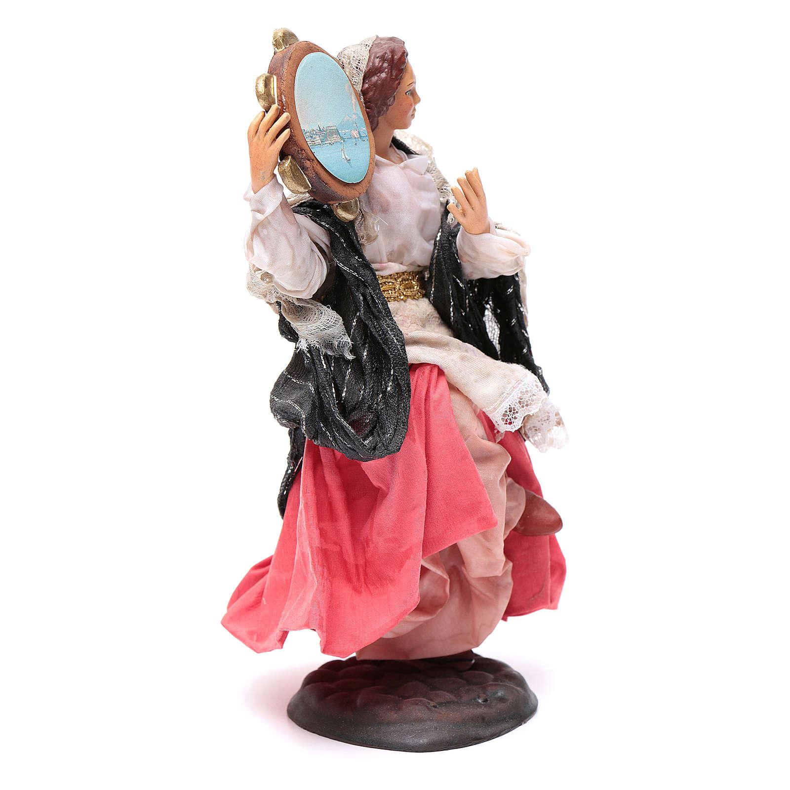 Neapolitan nativity figurine, woman with tambourine 18cm 4