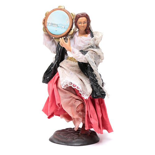 Neapolitan nativity figurine, woman with tambourine 18cm 1