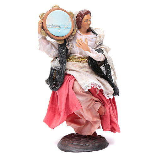 Neapolitan nativity figurine, woman with tambourine 18cm 2