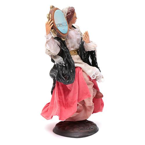 Neapolitan nativity figurine, woman with tambourine 18cm 3