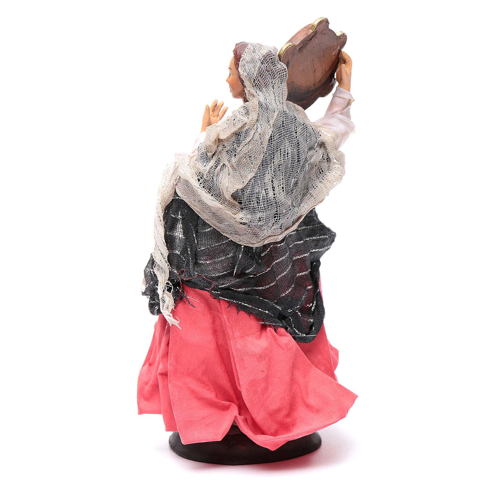 Donna con tamburello 18 cm presepe napoletano 4