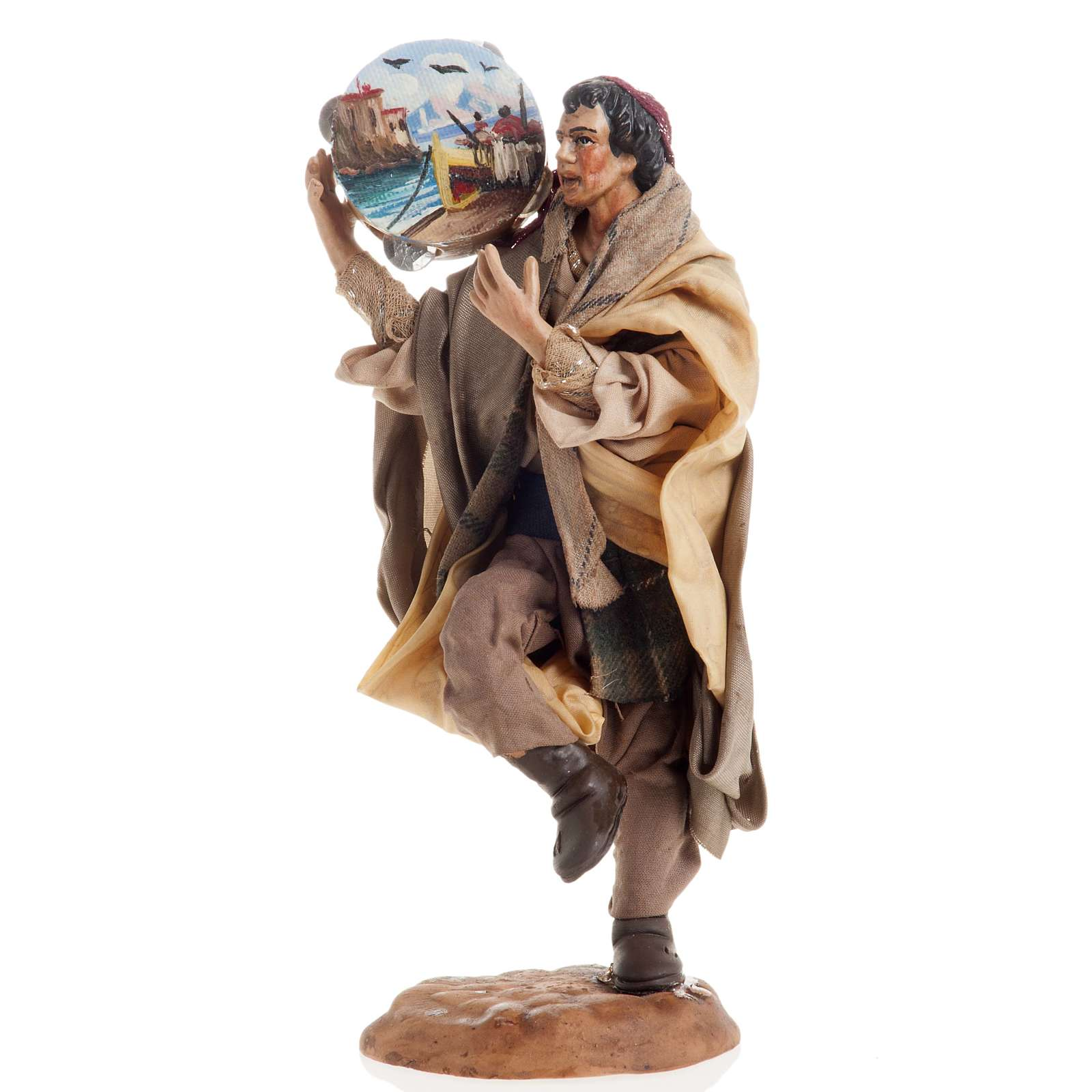 Neapolitan nativity figurine, man with tambourine 18cm 4