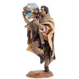 Neapolitan nativity figurine, man with tambourine 18cm s1