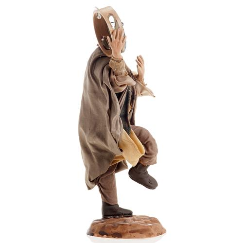 Neapolitan nativity figurine, man with tambourine 18cm 3
