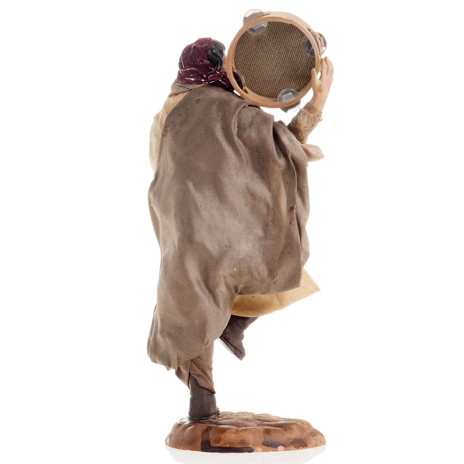 Hombre con pandereta 18 cm. belén napolitano 4