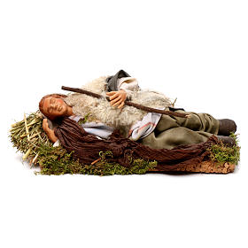 Neapolitan nativity figurine, sleeping man 18cm s1