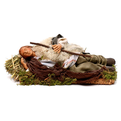 Neapolitan nativity figurine, sleeping man 18cm 1