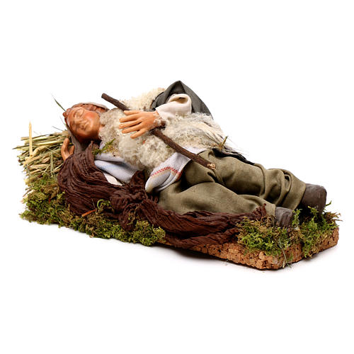 Neapolitan nativity figurine, sleeping man 18cm 3