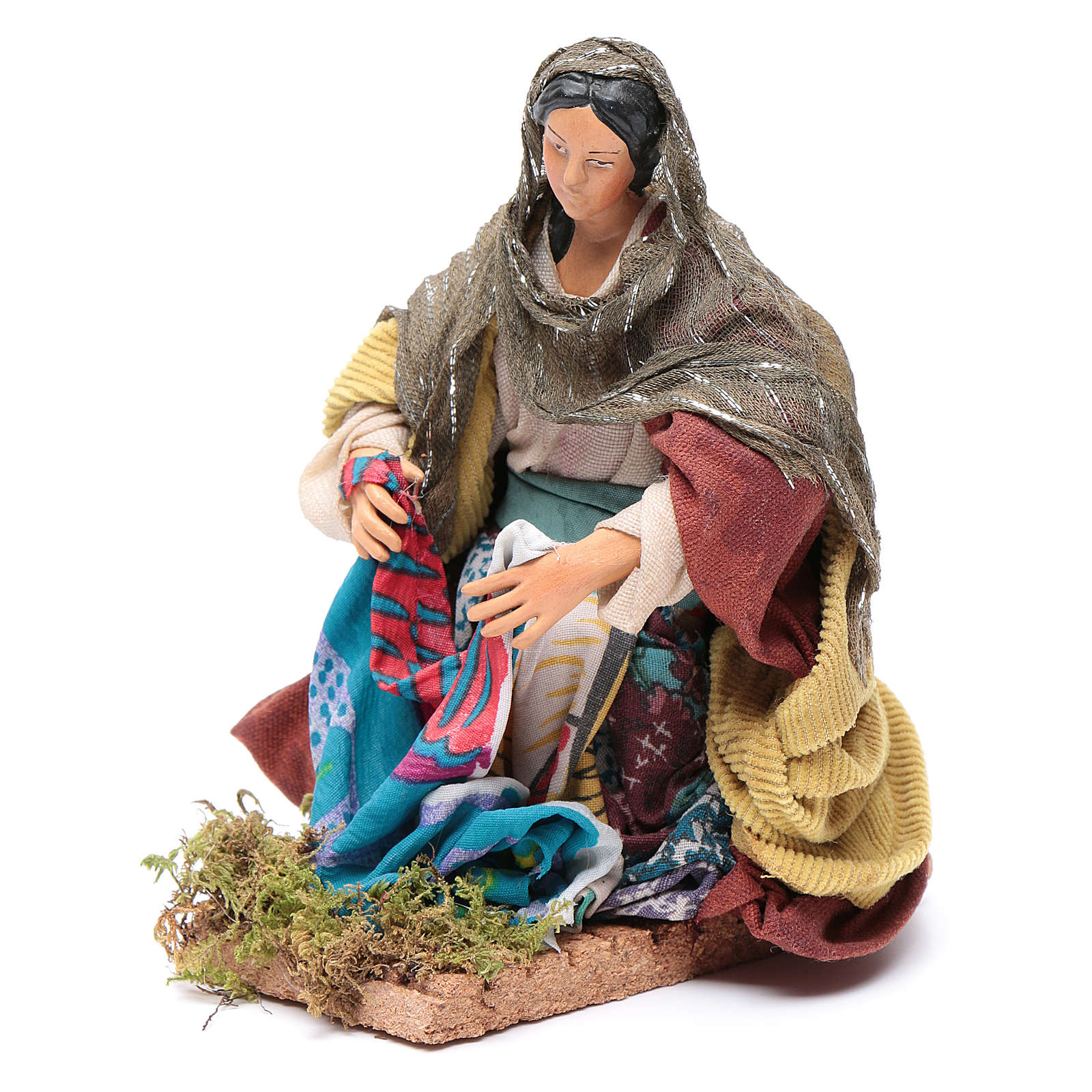 Neapolitan nativity figurine, washerwoman 18cm 4