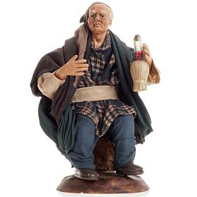 Neapolitan nativity figurine, drunk man 18cm s1