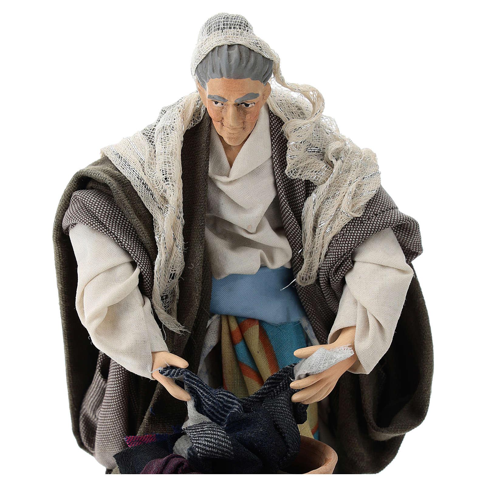 Neapolitan nativity figurine, old washerwoman 18cm 4