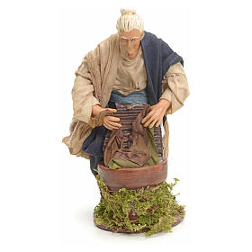 Neapolitan nativity figurine, old washerwoman 18cm s6