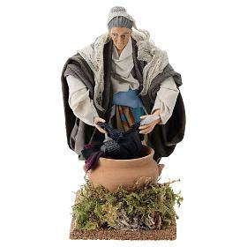 Neapolitan nativity figurine, old washerwoman 18cm s1