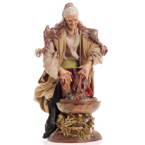 Neapolitan nativity figurine, old washerwoman 18cm 1