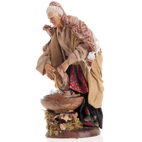Neapolitan nativity figurine, old washerwoman 18cm 3