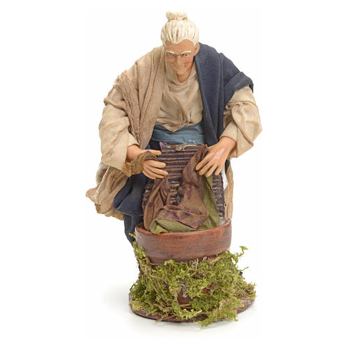 Neapolitan nativity figurine, old washerwoman 18cm 6