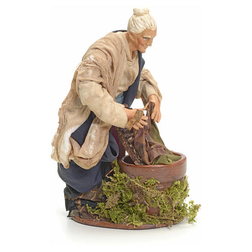 Neapolitan nativity figurine, old washerwoman 18cm 7