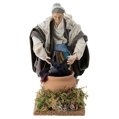 Neapolitan nativity figurine, old washerwoman 18cm 1