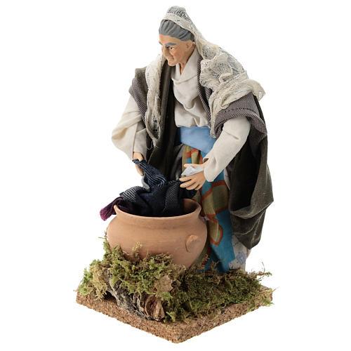 Neapolitan nativity figurine, old washerwoman 18cm 3