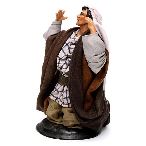 Neapolitan nativity figurine, kneeling man 18cm 3