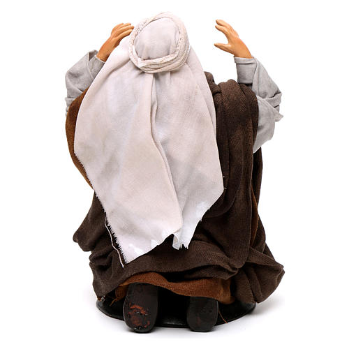 Neapolitan nativity figurine, kneeling man 18cm 5