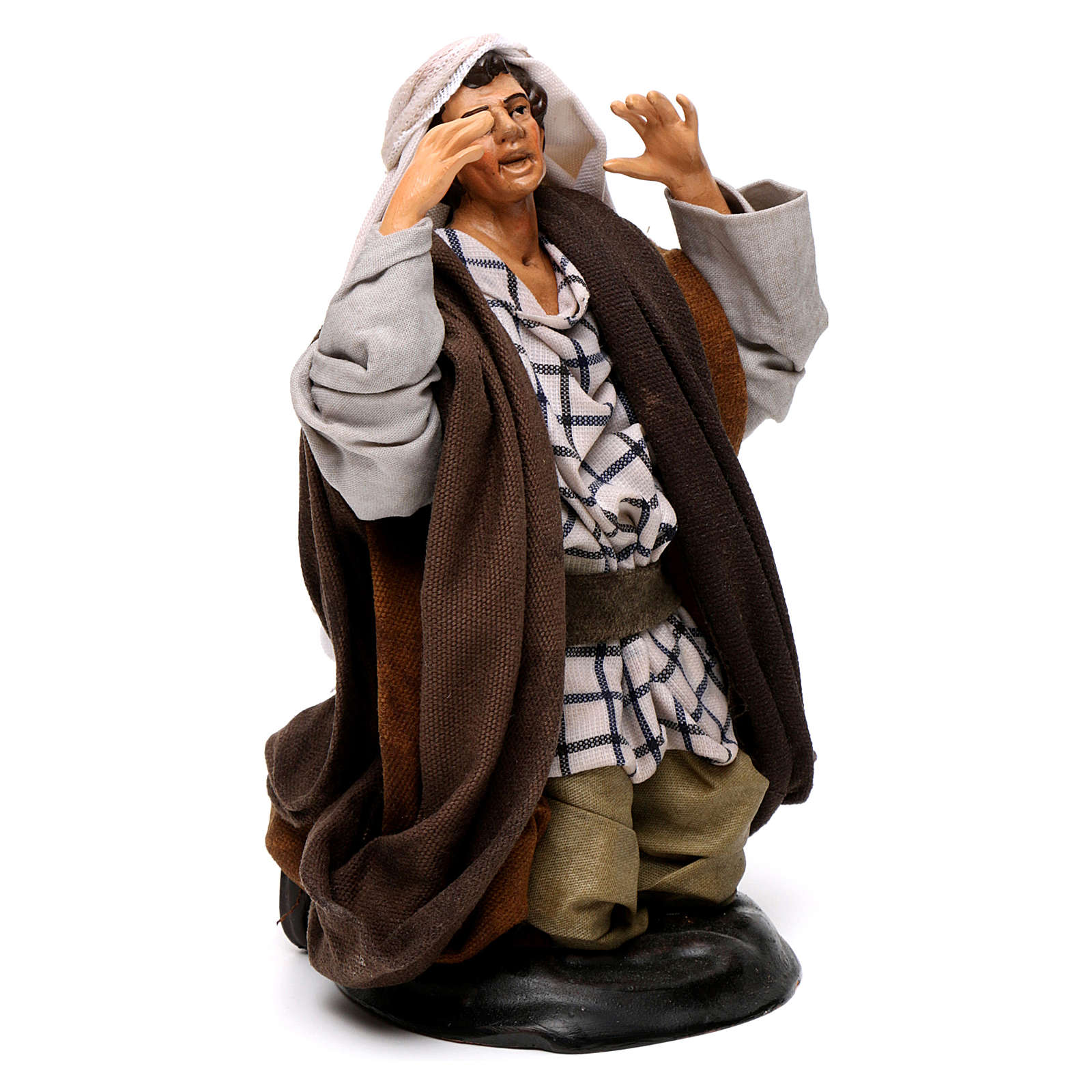 Neapolitan nativity figurine, kneeling man 18cm 4