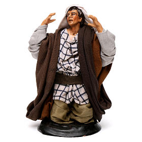 Neapolitan nativity figurine, kneeling man 18cm s1