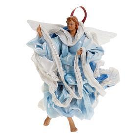 Neapolitan nativity figurine, blue angel 18cm s1