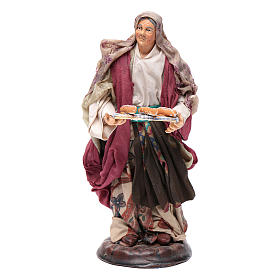 Neapolitan Nativity Scene: Neapolitan nativity figurine, woman with bread basket 18cm