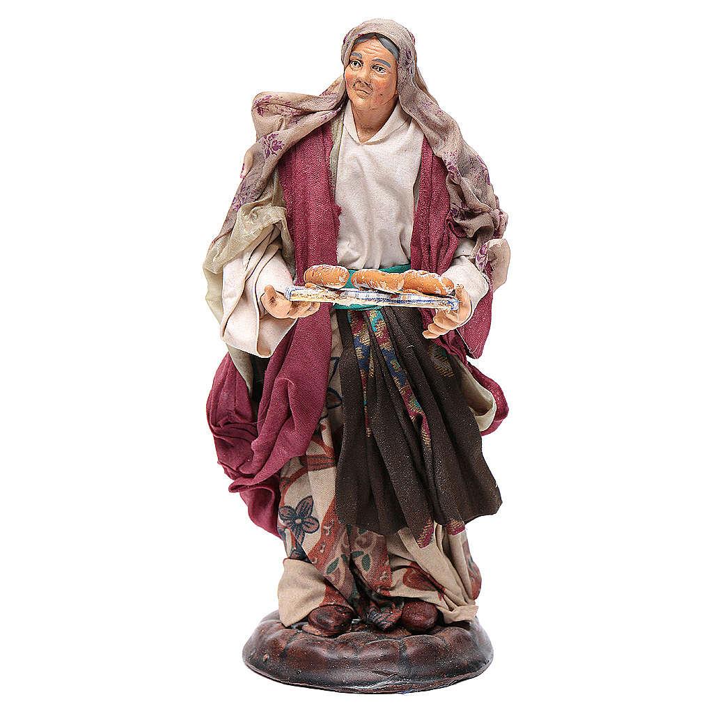 Donna con cesto di pane 18 cm presepe Napoli 4