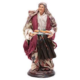 Donna con cesto di pane 18 cm presepe Napoli s1