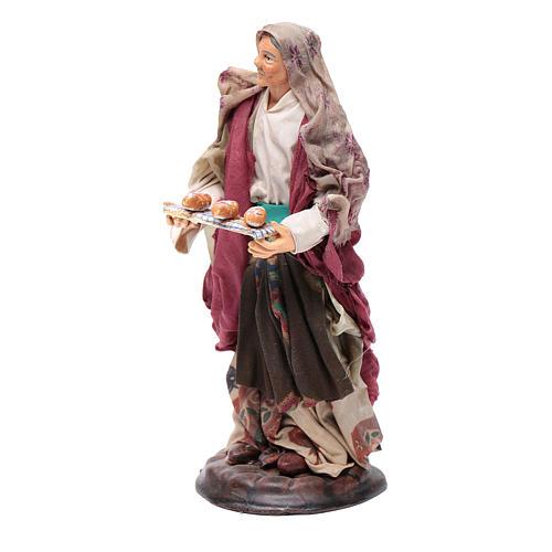 Donna con cesto di pane 18 cm presepe Napoli 2
