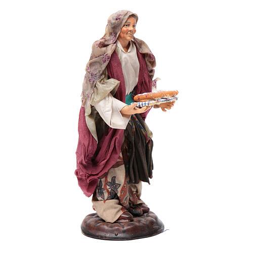 Donna con cesto di pane 18 cm presepe Napoli 3