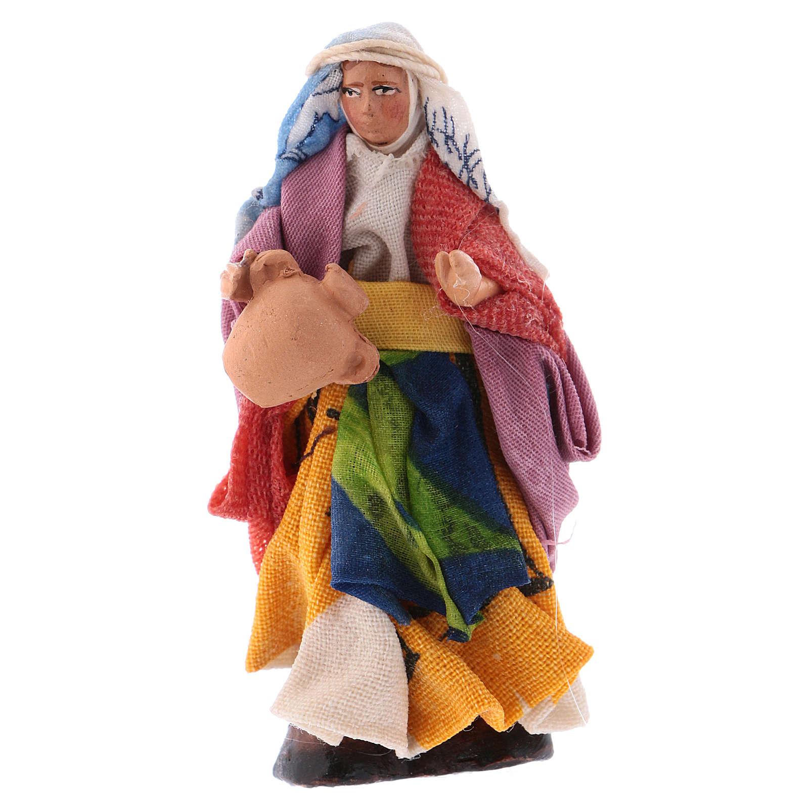 Donna con brocca 8 cm presepe napoletano 4