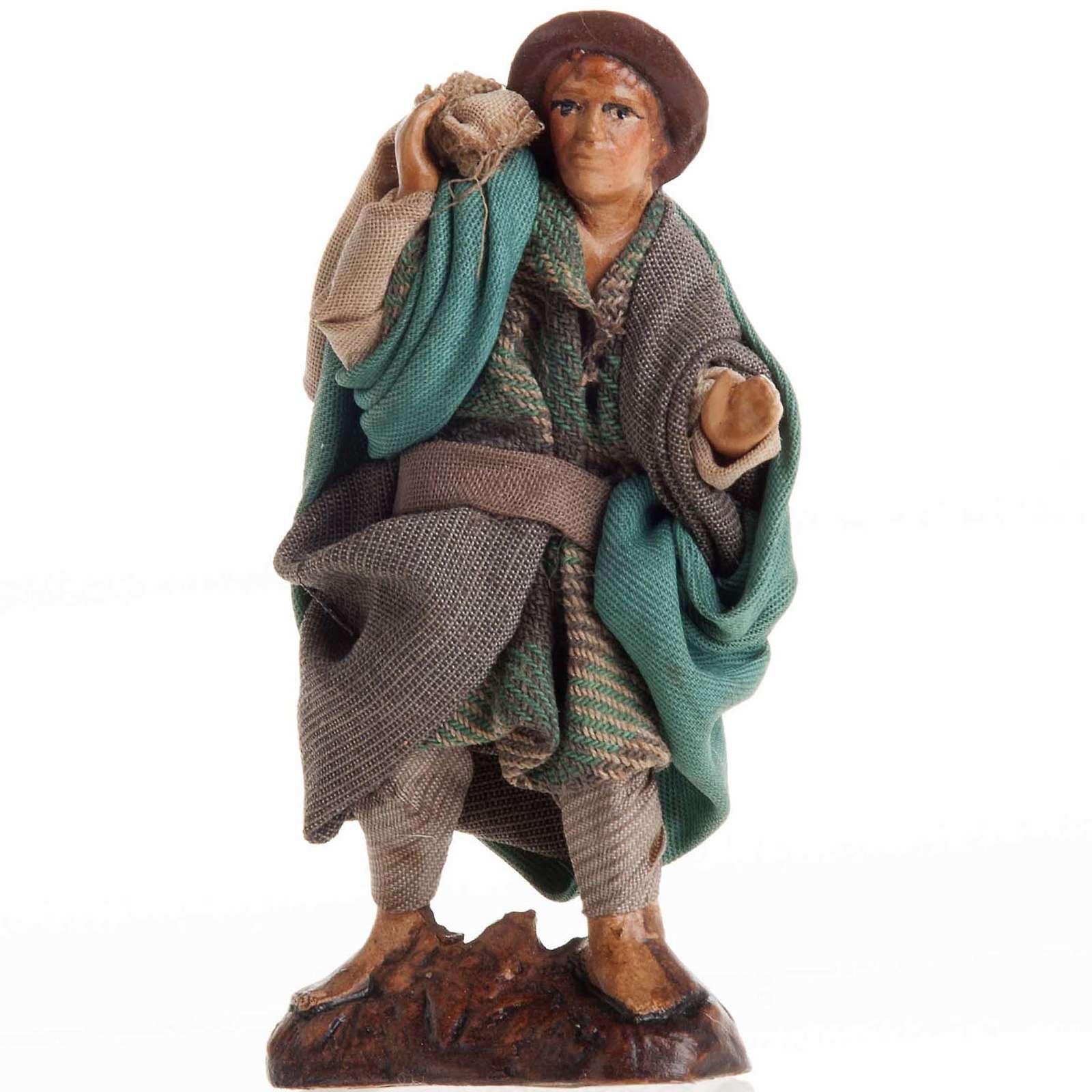 Neapolitan nativity figurine, man with sack 8cm 4