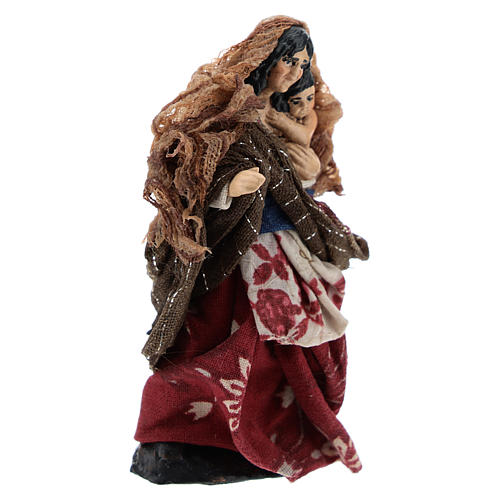 Neapolitan Nativity figurine, Woman with child 8cm 3