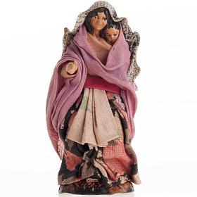 Neapolitan Nativity figurine, Woman with child 8cm s1