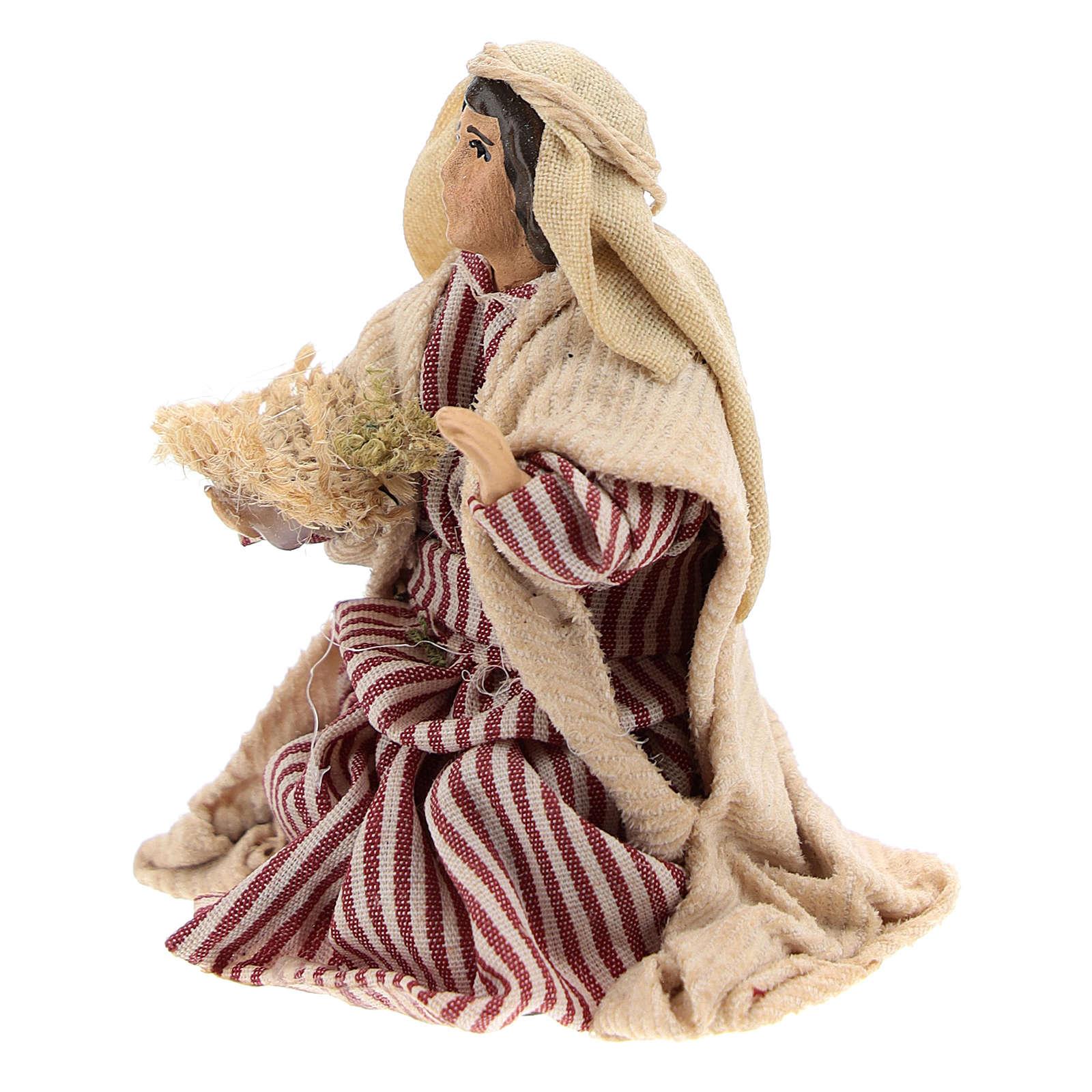 Neapolitan Nativity figurine, Kneeling beggar 8cm 4