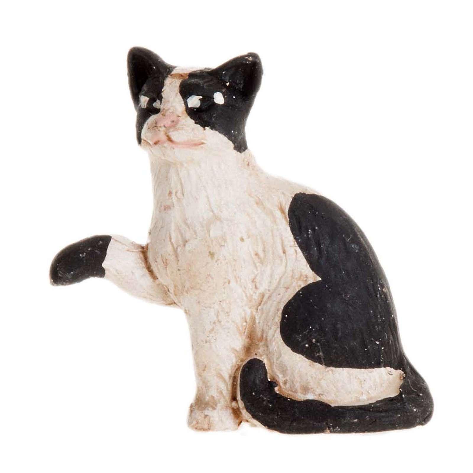 Gatto bianco e nero 14 cm presepe napoletano 4